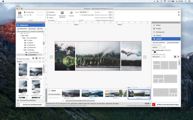 Die Saal Design Software zur Gestaltung des Fotobuchs