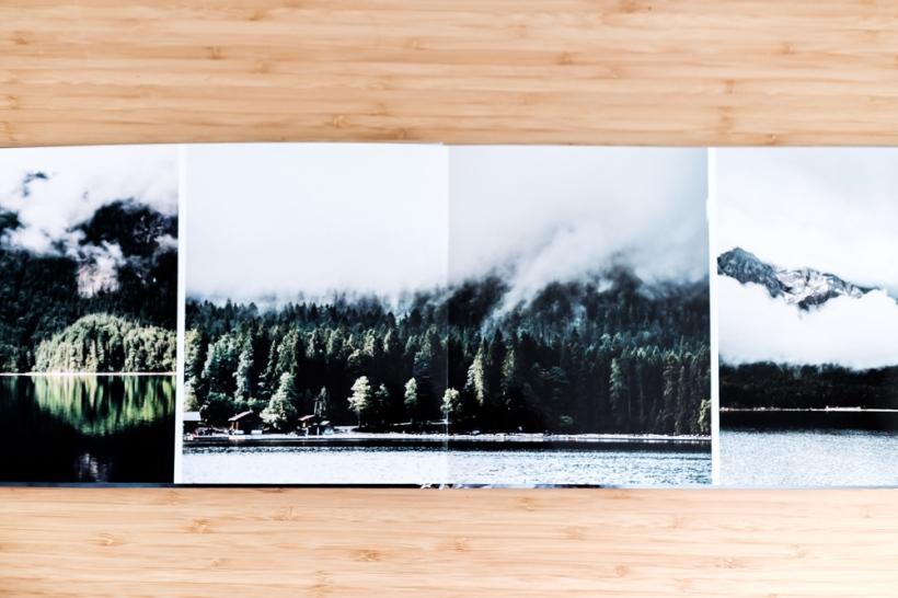 Eine Doppelseite des Fotobuchs -Die Bindung überzeugt