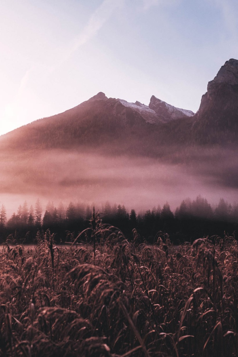 Die aufgehende Sonne taucht die Landschaft in schönes weiches Licht. Nebelschwaden stiegen langsam auf.