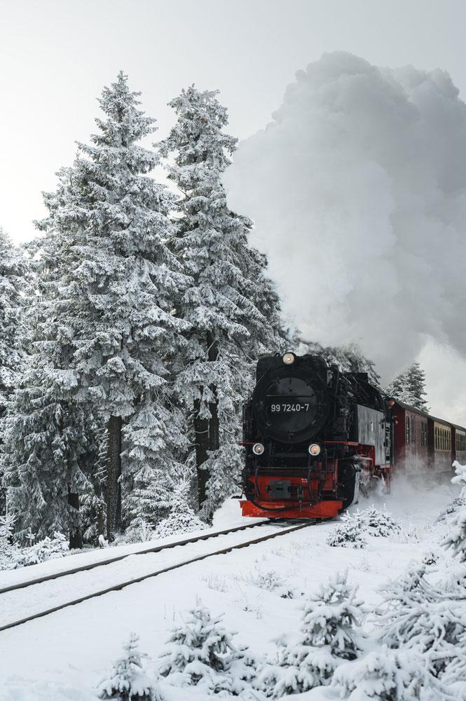 Die Brockenbahn dampft durch den schneebedeckten Wald.