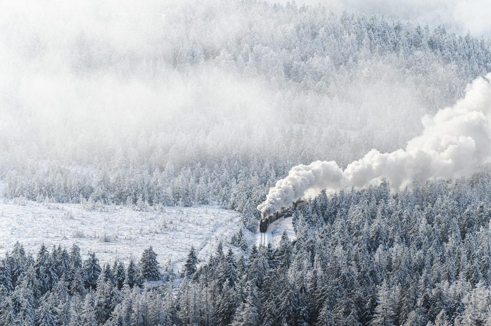 Die Brockenbahn bahnt sich Ihren Weg durch den verschneiten Wald.