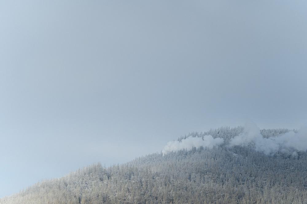 Der Dampf der Brockenbahn auf dem Weg zum Gipfel ist von Schierke aus gut zusehen.